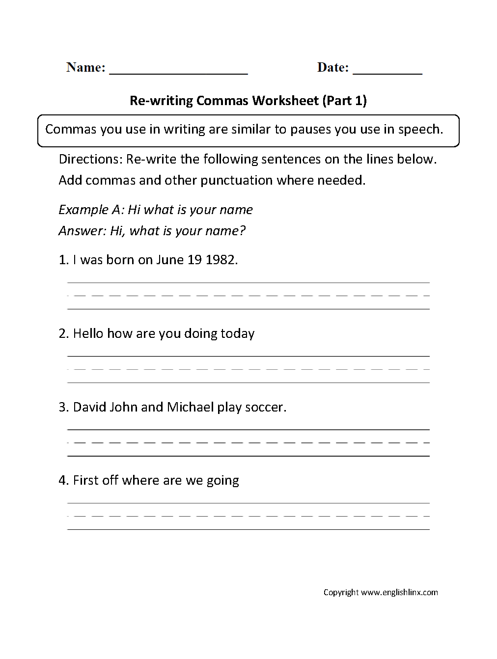 Commas Worksheets Re Writing Commas Worksheets Part 1 Language Worksheets Paragraph Writing Worksheets Punctuation Worksheets [ 1342 x 1012 Pixel ]