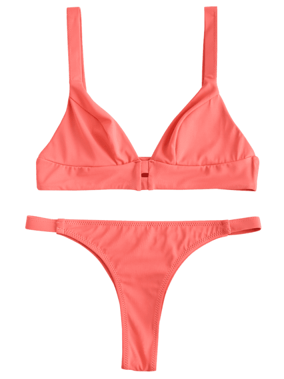 f75e1d6ae40cf ZAFUL Bralette Low Waist Bikini Set - WATERMELON PINK L