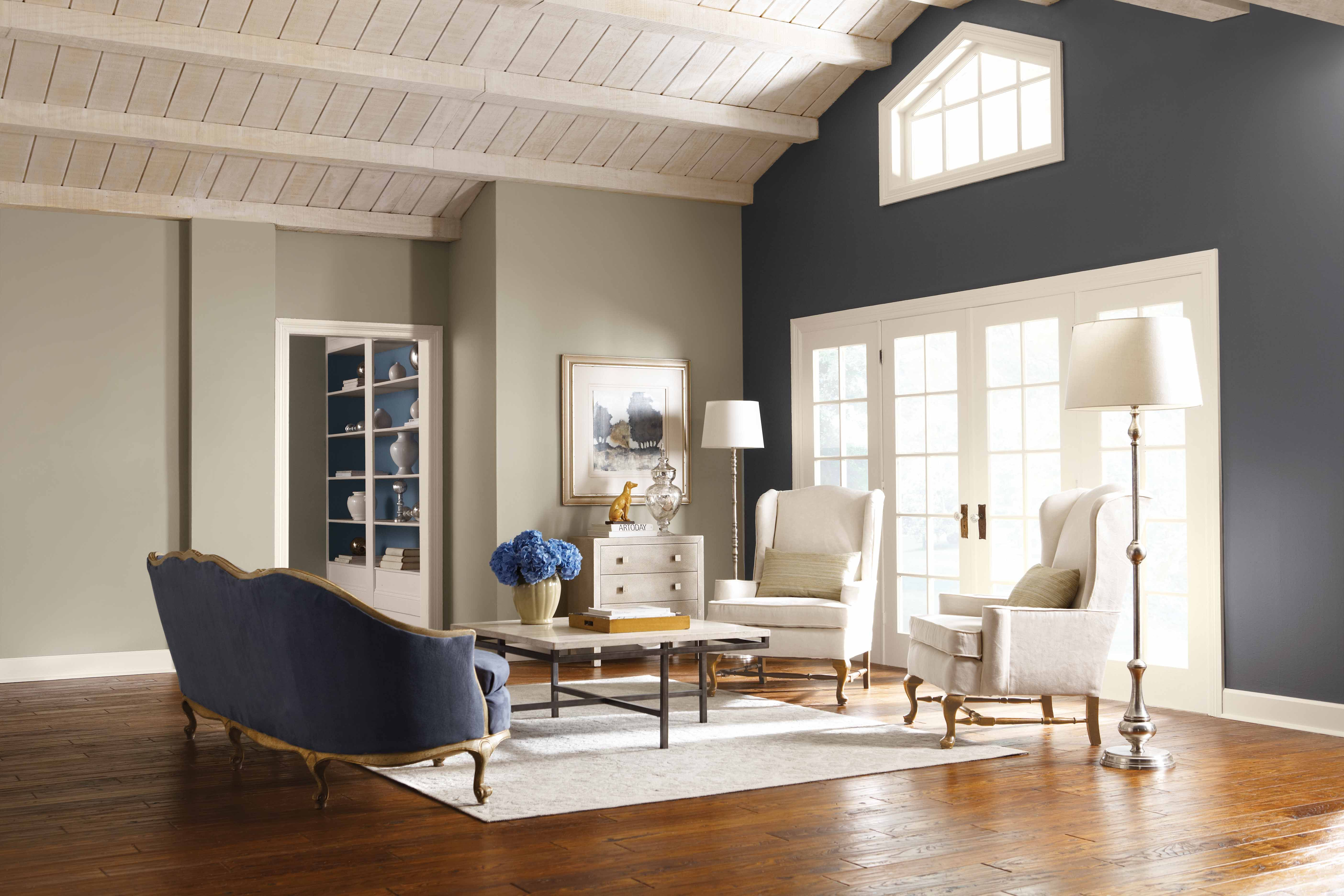 dark accent wall + whitewash ceiling | for the home | pinterest