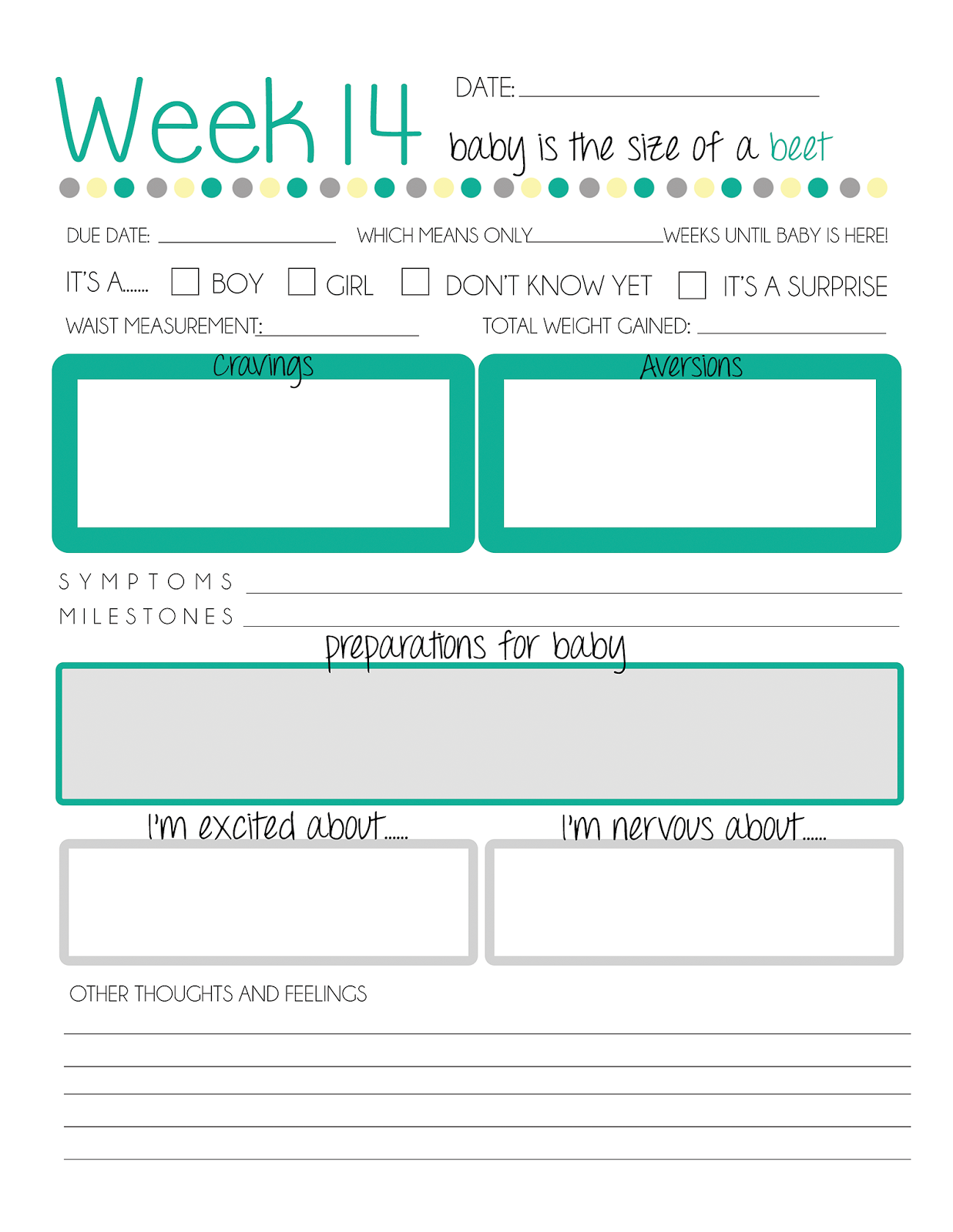 Printable Pregnancy Worksheet
