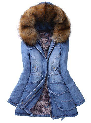 Μπλε Τζιν Μπουφάν γυναικείο μακρύ με γούνα εσωτερική και κουκούλα ... 383083ea7ea