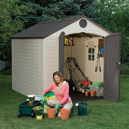 Outdoor Toy Shed Outdoor Storage Shed With Window Skylights And Shelving For Large Toys Ride On Lifetime Storage Sheds Outdoor Storage Sheds Shed Storage