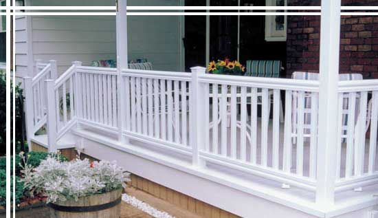Plastic Patio Decking | Composite Deck Railing Options   Vinyl Railings By  DreamSpace Sunrooms .
