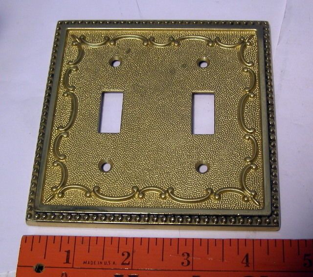 Vintage Ornate Heavy Brass Double Light Switch Outlet Cover Double Light Switch Light Switch Outlet Covers