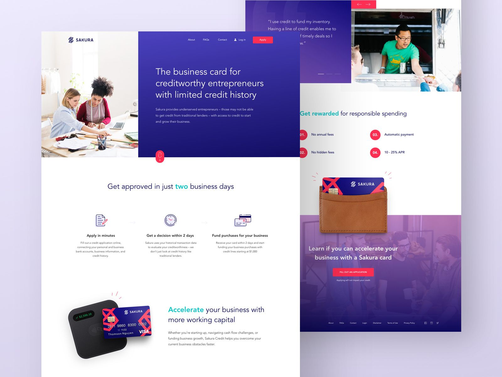 Wip Homepage Design For Innovative New Business Credit Card
