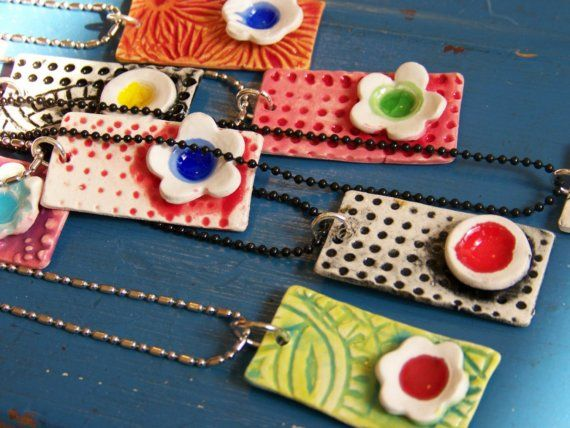 """Necklaces - 1""""x.5""""  Try this in polymer clay!   You don't need a kiln for polymer clay.  You can bake it in the oven."""