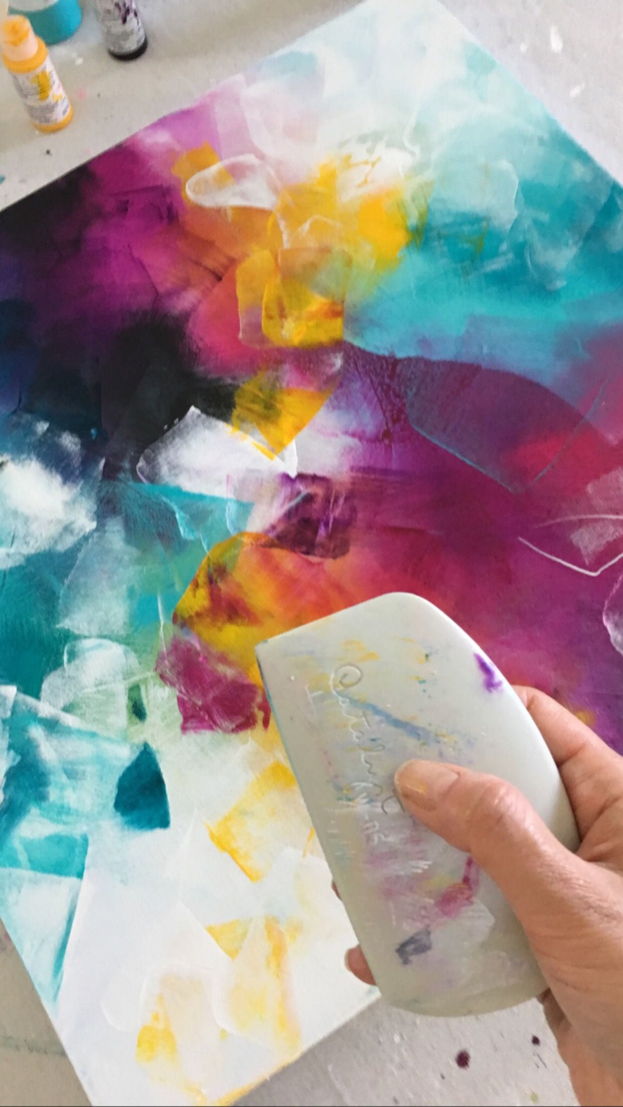 Vibrant Abstract Artwork With Fluid Acrylics And The Catalyst