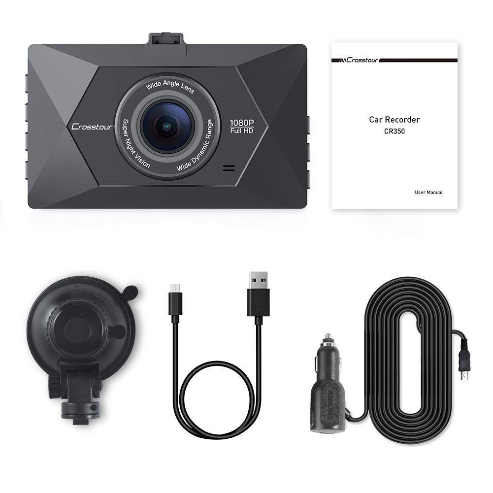 Motion Detection F1.8 Super Big Aperture HDR Loop Recording 3 Inch LCD Crosstour Dash Cam 1080P FHD Mini in Car Dashboard Camera with Park Mode G Sensor 170/°Wide Angle