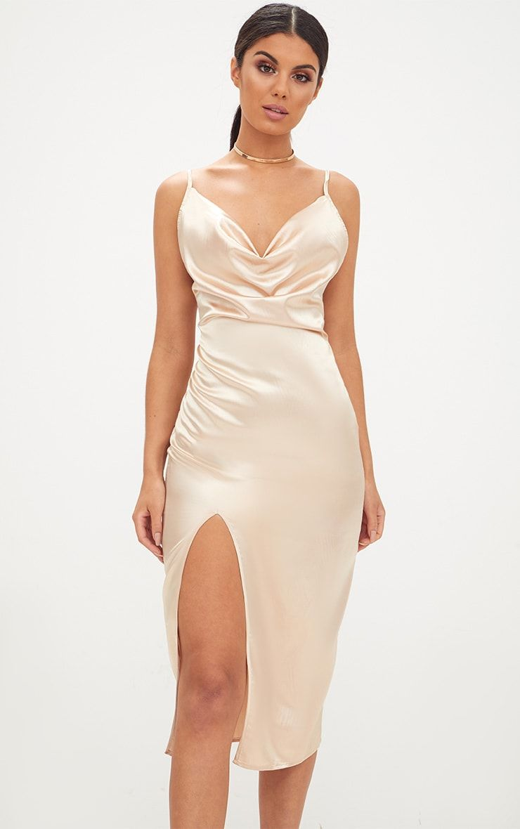 430b04c5622 Champagne Strappy Satin Cowl Neck Midi Dress. Nude Crepe Split Side ...