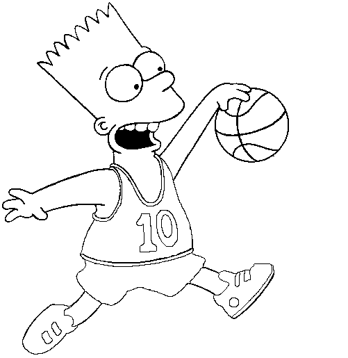 Bart Simpson playing basketball coloring page for boys #TheSimpsons ...