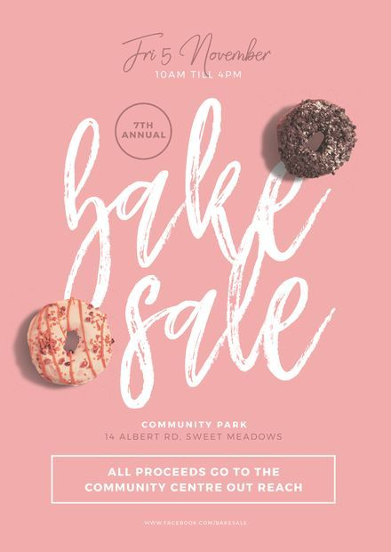 Pink Bake Sale Template with chocolate and pink iced donuts - Easil #bakesaleideas
