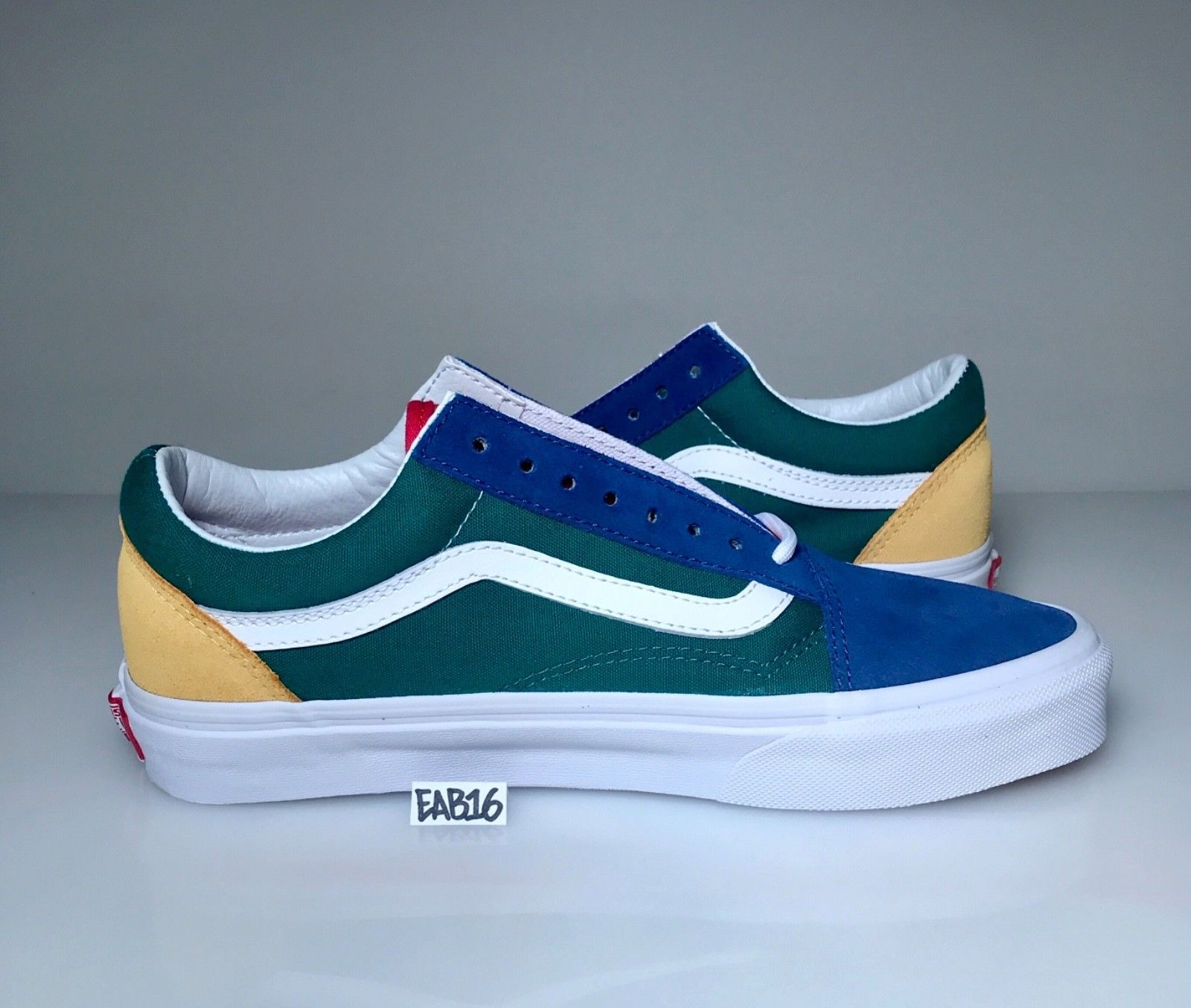 0551896eb6da87 Vans Old Skool Yacht Club Yellow Blue Green and Red Colorblocked Color  Blocked