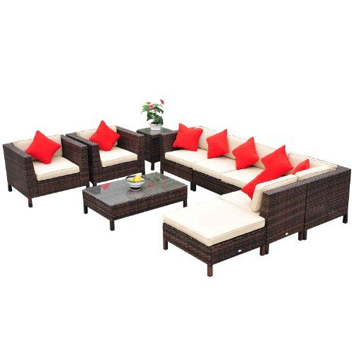 Outsunny 9 Piece Outdoor Pe Rattan Wicker Sectional Patio Sofa Chair Set