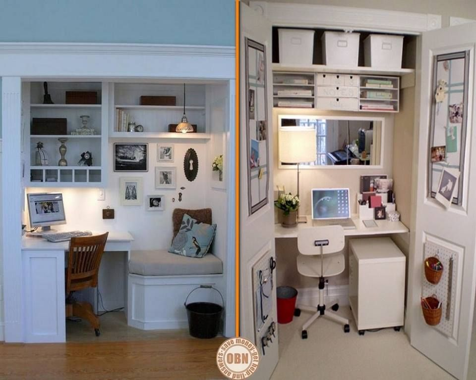 Here are two great examples of how to convert a wardrobe - Home office closet ideas ...