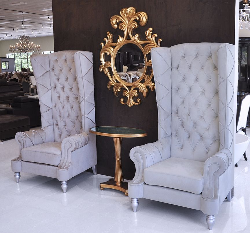 Baroque high back chair chairs home decor furniture - High back wing chairs for living room ...