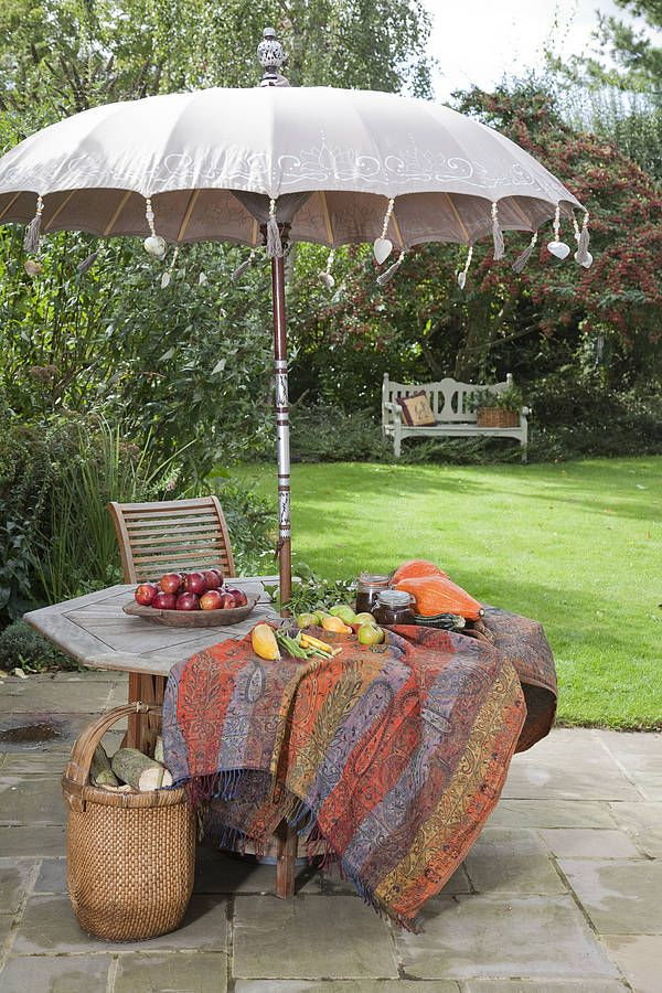 Delightful Indian Stone Painted Garden Sun Umbrella