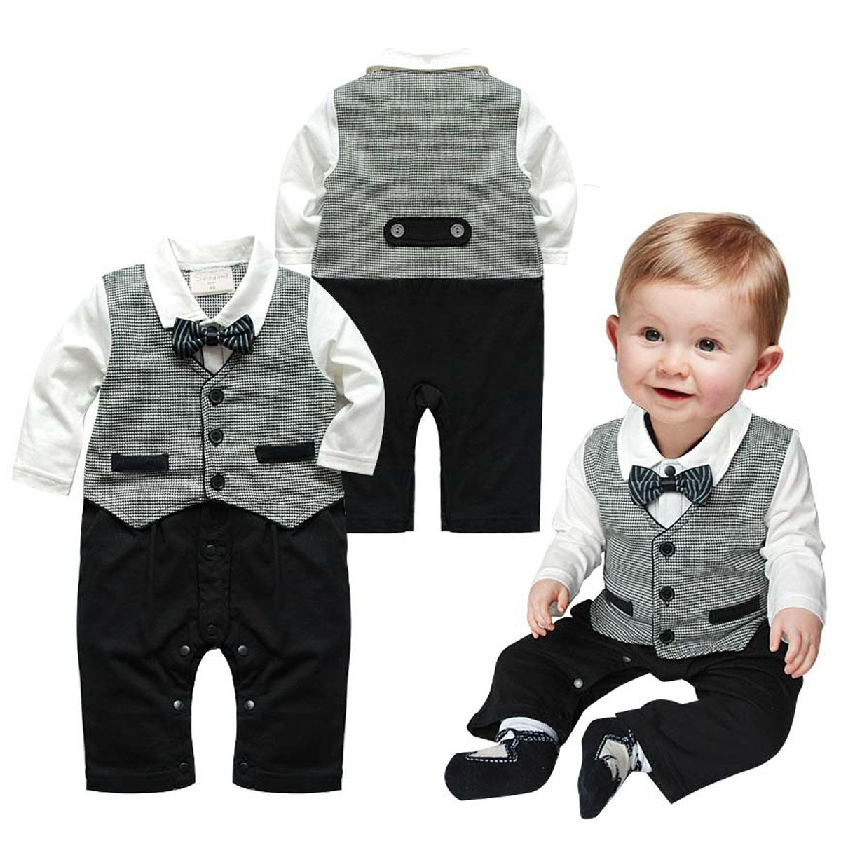 Newborn Baby Boys Infant Gentleman Suit Bow Tie Romper Jumpsuit ...