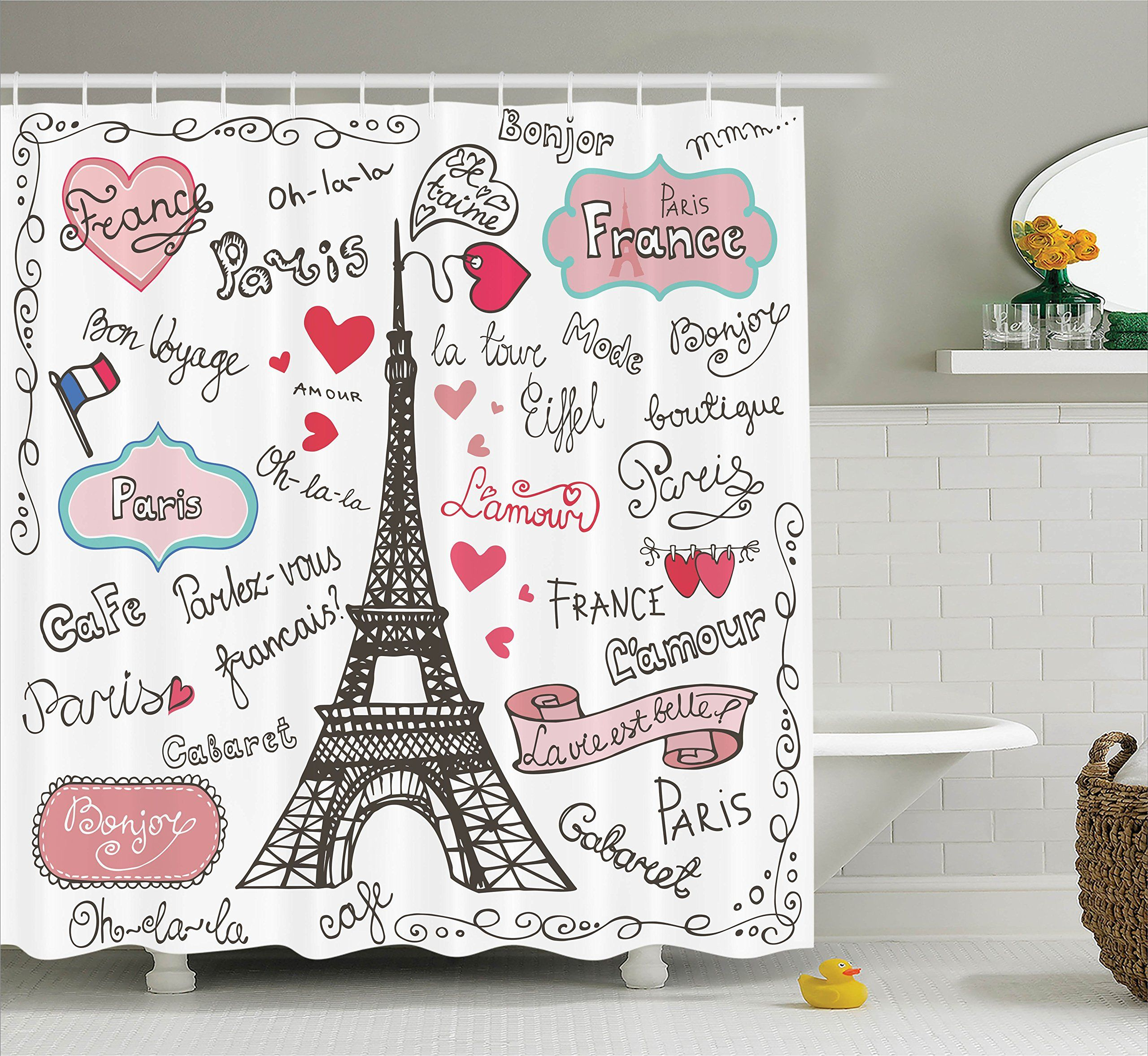 Eiffel Tower Decor Shower Curtain Set By Ambesonne Paris Symbols Lettering Heart Shapes Flag Ornamental Sketchy Doodle Decorative Bathroom Accessories 84