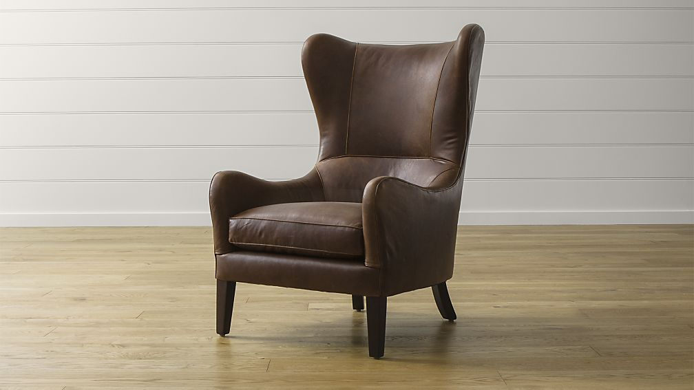 Garbo Leather Wingback Chair Crate And Barrel Chair