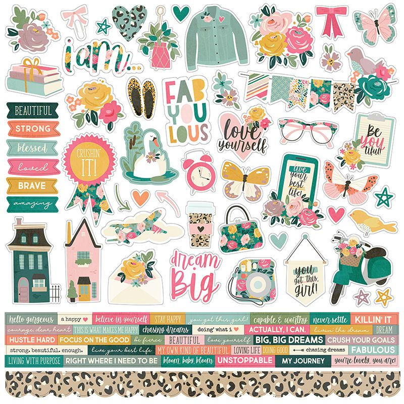 Simple Stories I Am Combo Stickers In 2021 Scrapbook Printables Free Printable Planner Stickers Free Printable Planner Stickers