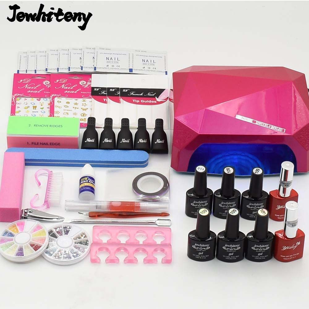Nail Art Set Uv Led Lamp Dryer 6 Color Gel Polish Varnish Top Base Coat Manicure Tools Kits