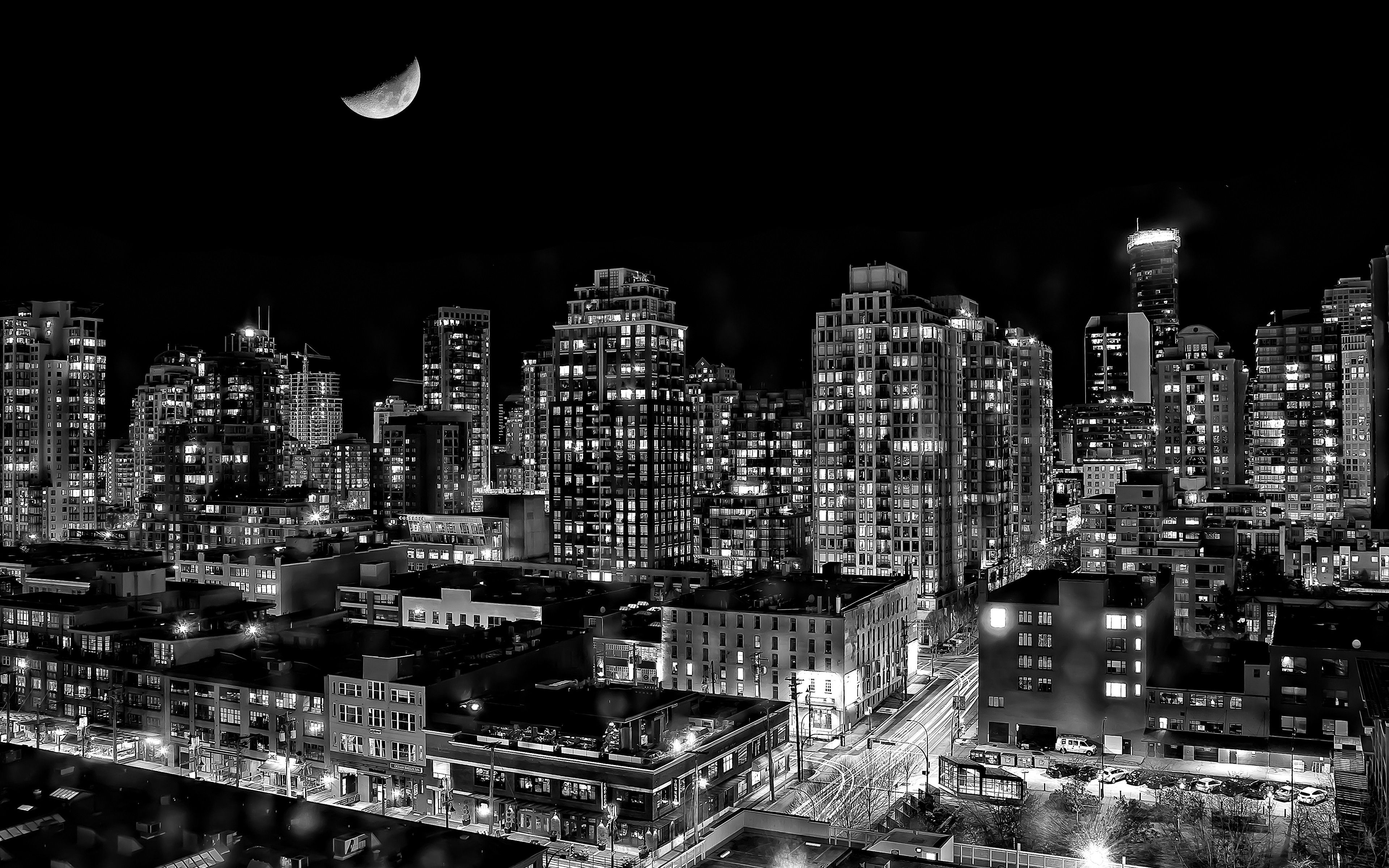 Wallpapers Black And White Cityscapes Night Lights Moon Urban Buildings Canada Vancouve Black And White Landscape Vancouver Wallpaper City Wallpaper