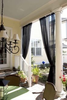 Outdoor Hanging Screen Curtains That Pull Closed For A Screened In Porch Totally Removable But A Huge Porch Curtains Outdoor Flooring Options Outdoor Curtains