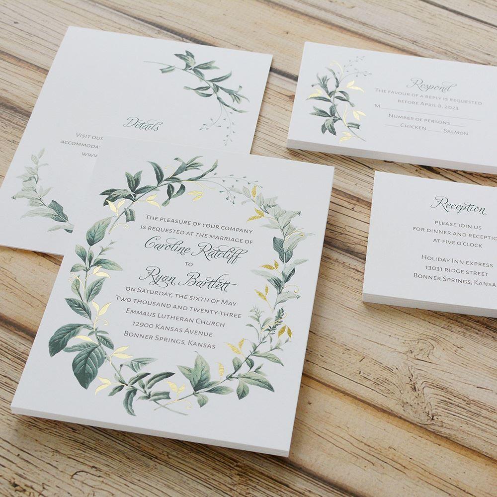Vintage Botanical Foil Invitation Invitations By Dawn Wedding Invitations Boho Greenery Wedding Invitations Cheap Wedding Invitations