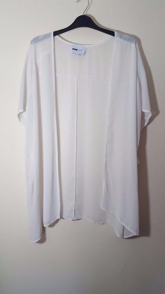 POP CPH Size M 12 14 16 White Cream Sheer Cover-Up Cardigan Bolero ...