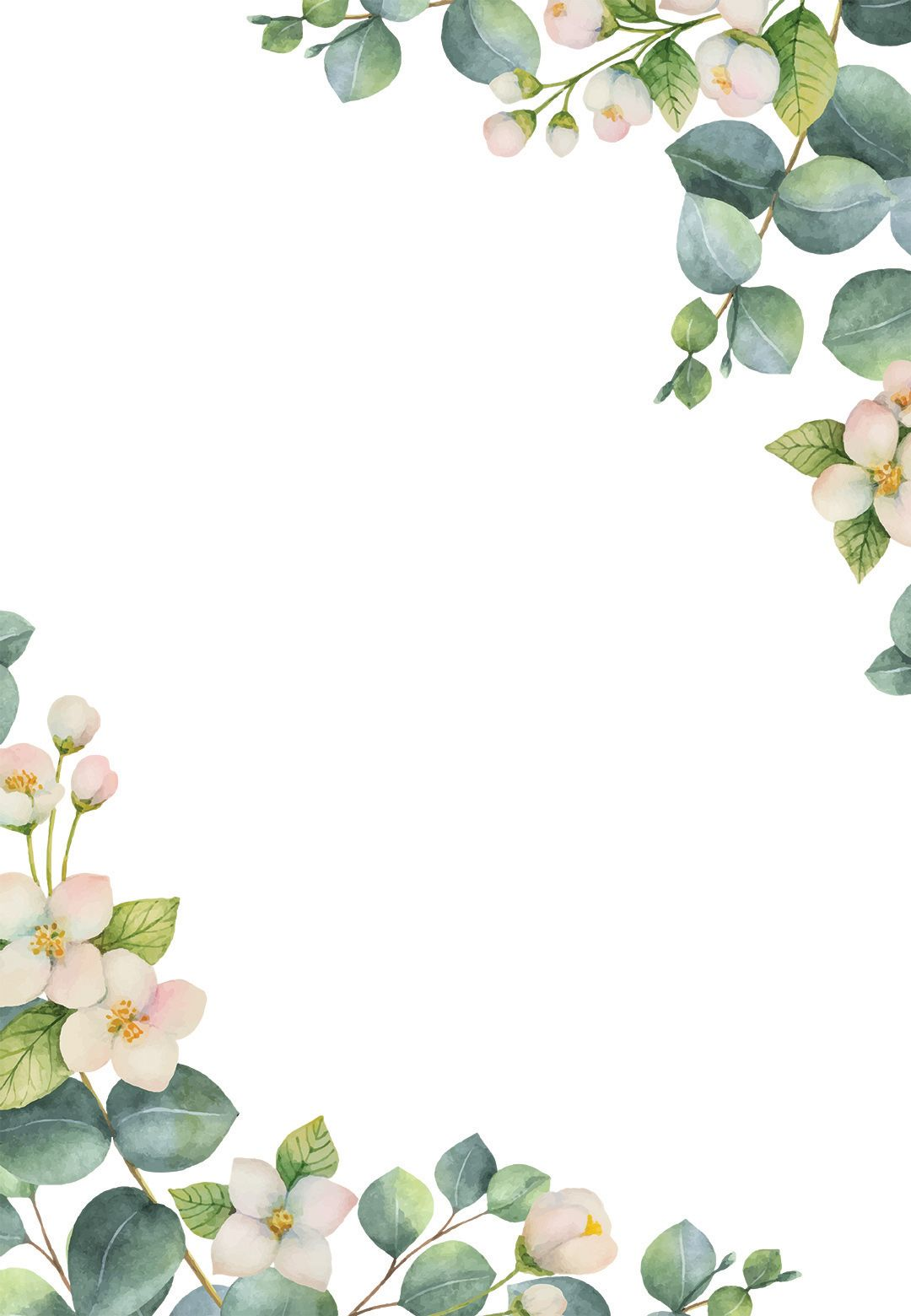 Botanical White Flowers Wedding Invitation Template Free