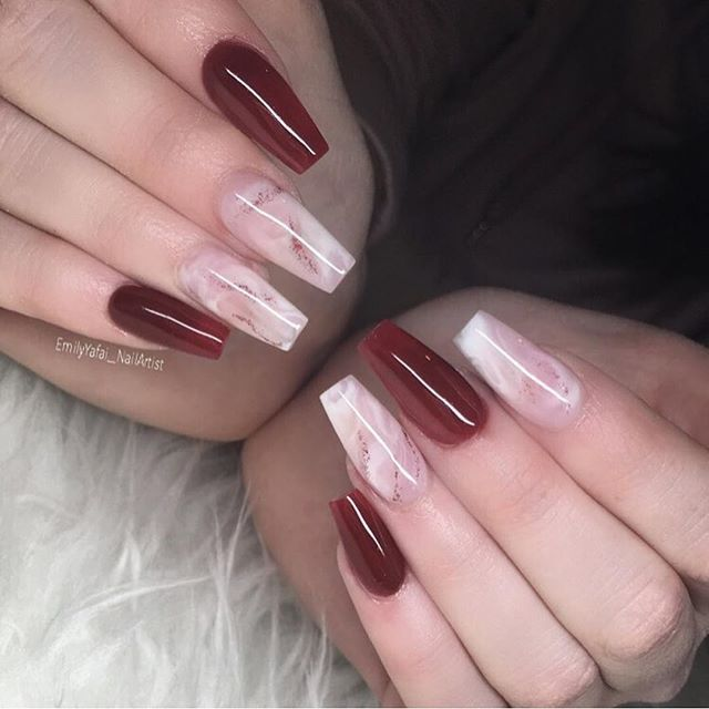 Mismatched burgundy nails