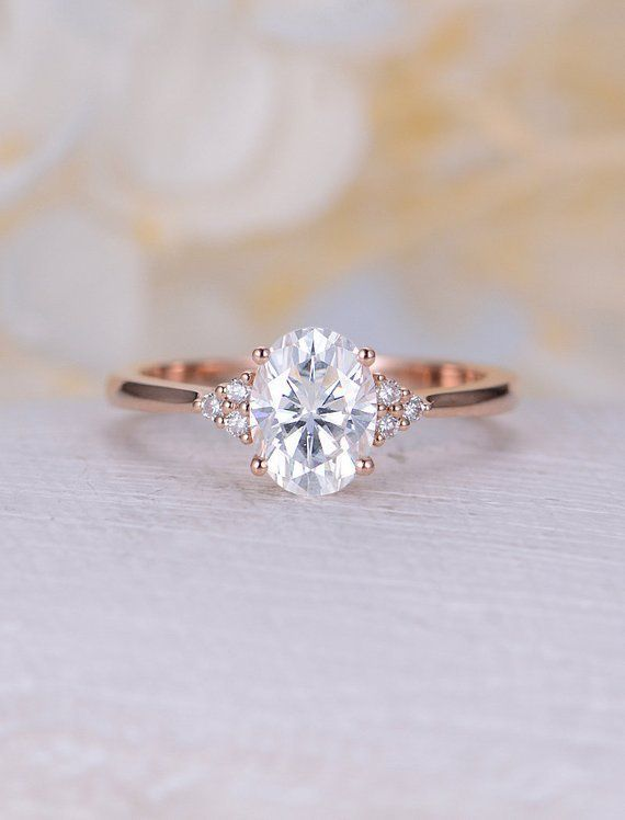 Photo of Vintage Moissanite engagement ring rose gold engagement ring oval moissanite ring synthesis diamond cluster ring wedding Bridal Anniversary