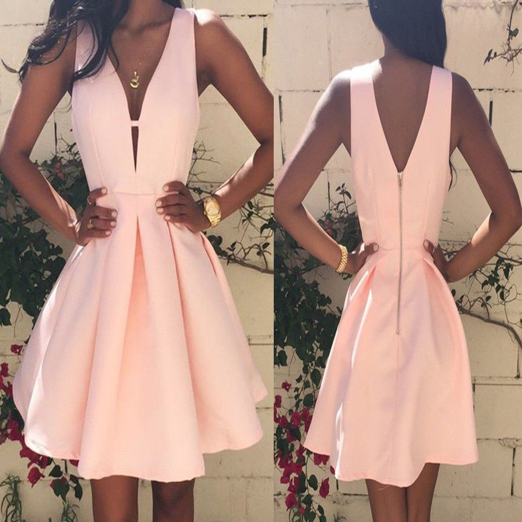 Popular peach pink simple elegant tight freshman homecoming prom