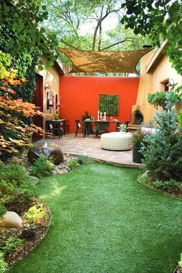 Patio Decorating Ideas With Burlap Curtain And Furniture Ottoman Orange Accent Wall Art Small