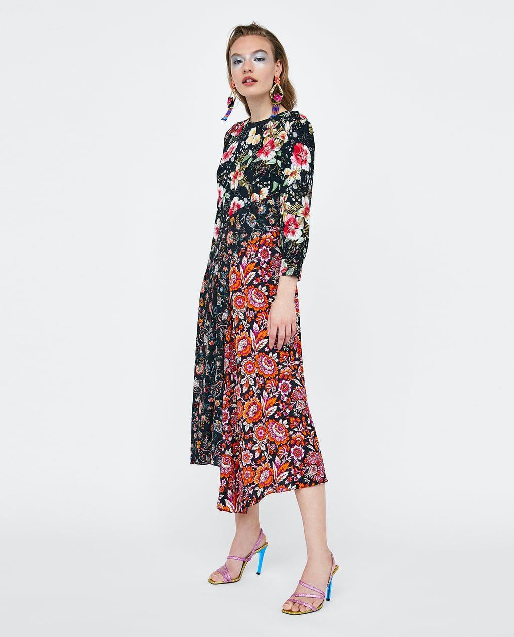 Image 1 Of Patchwork Print Dress From Zara Best Wedding Guest Dresses Modest Summer Dresses Dresses [ 1269 x 1024 Pixel ]