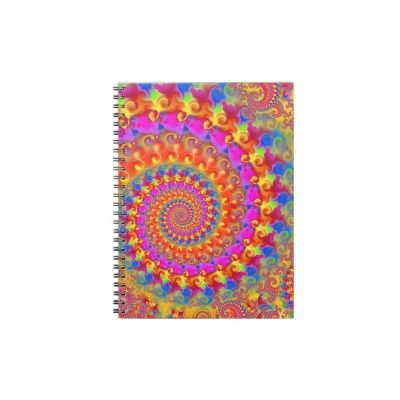 Hippy Fractal Pattern Pink Turquoise & Yellow Notebook $14.60