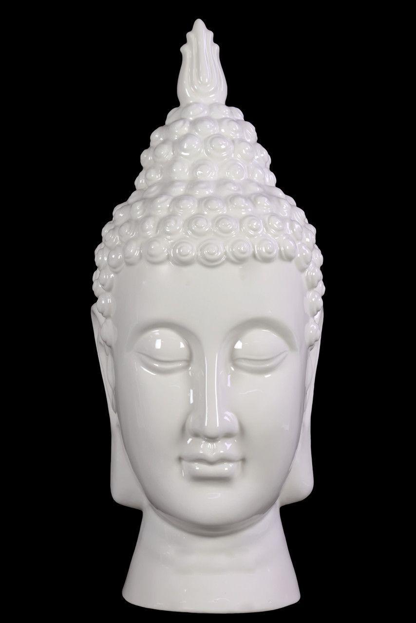 Compulsive & Spiritual Ceramic Buddha Head In White