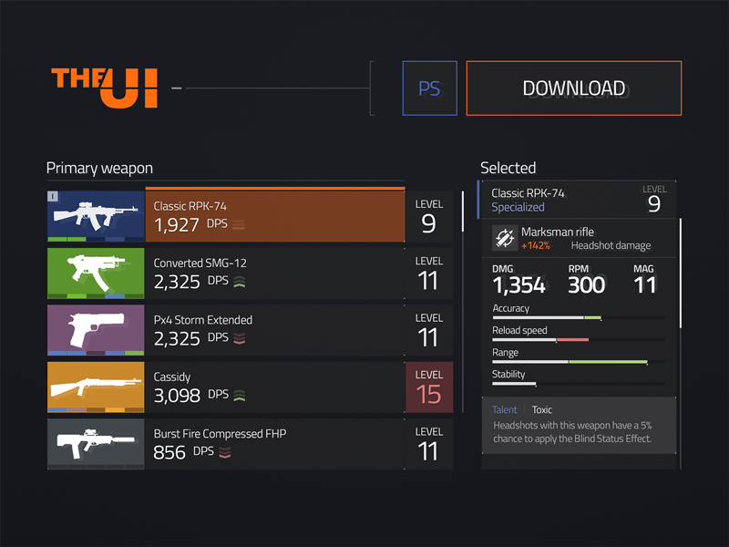 The Division UI Kit Freebie | Pro GameUI | Ui kit, Game ui
