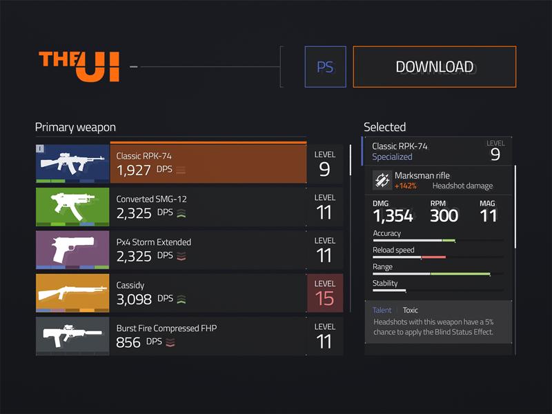 The Division UI Kit Freebies Free Games Menu Navigation PSD Radio Resource Slider Statistics UI Widget
