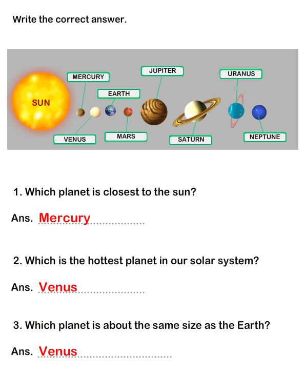 Solar System Worksheet 7 - science Worksheets - grade-1 ...