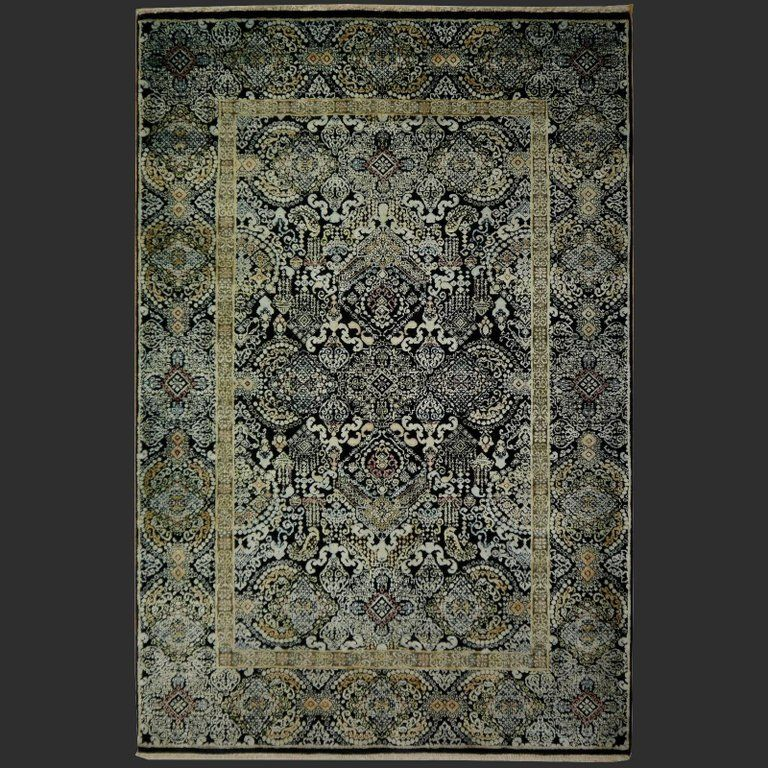 Kohinoor Hand Knotted Wool And Silk Rug From India Black Gold Green In 2021 Silk Rug Rugs Indian Rugs Hand knotted wool rugs from india