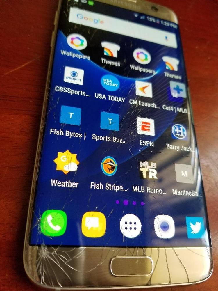 Used Samsung Galaxy S7 Edge Silver Cracked Screen Sprint Samsung Smartphone Samsung Galaxy S7 Edge Samsung Galaxy S7 Galaxy S7