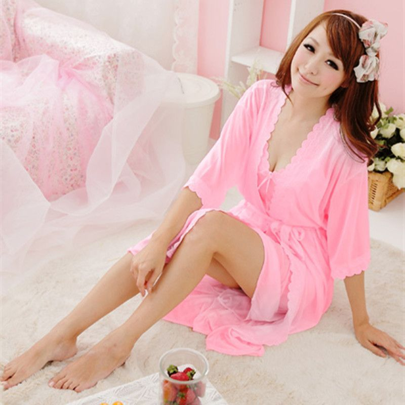 New Summer sexy silk Nightwear Two piece Lace Home wear clothes lovely  Nightgowns Sleepwear Women s Sleep   Lounge Sleepshirts fb4c8c19b