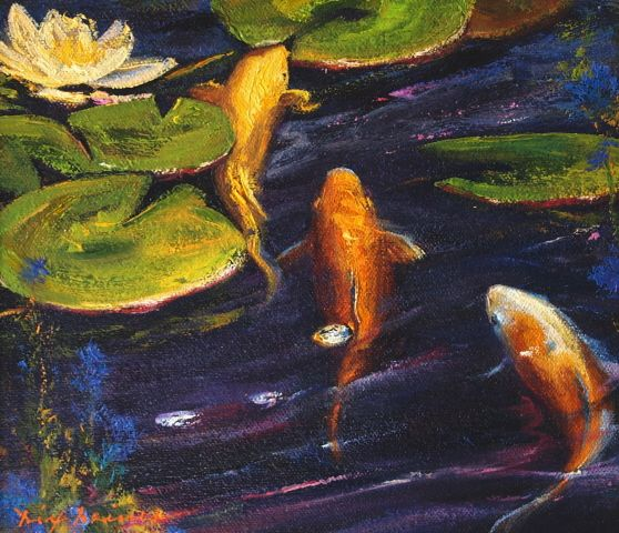 Koi fish l 5x7 i dix baines i fine artist l original oil for Original koi fish