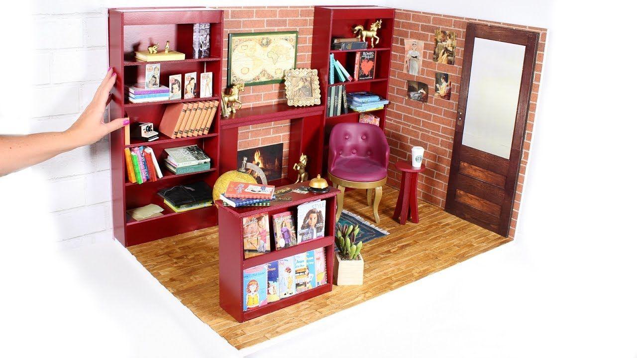Diy american girl bookstore dollhouse room american girl