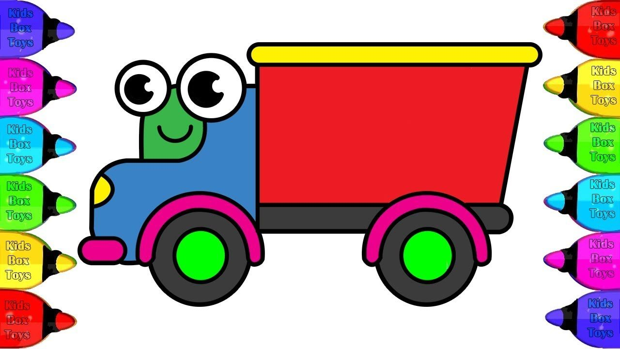 Red Truck Coloring With Glitters How To Draw Colors Red Truck