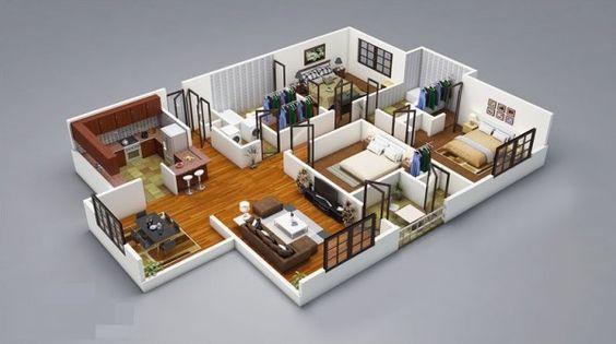25 Three Bedroom House Apartment Floor Plans 3d House Plans House Layout Plans Floor Plan Design