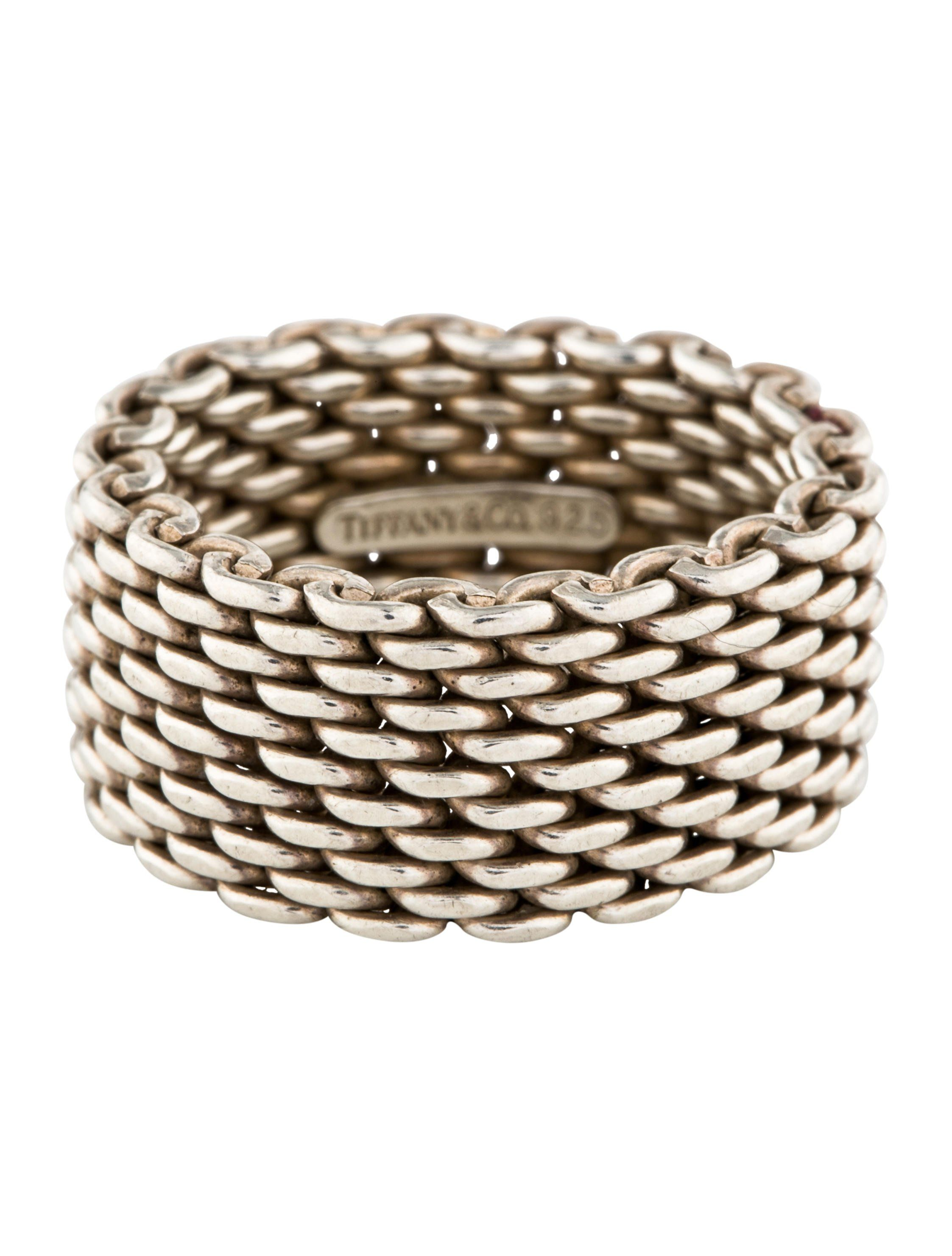 f58df56df50c4 Sterling silver Tiffany   Co. Somerset ring featuring woven mesh links  throughout.