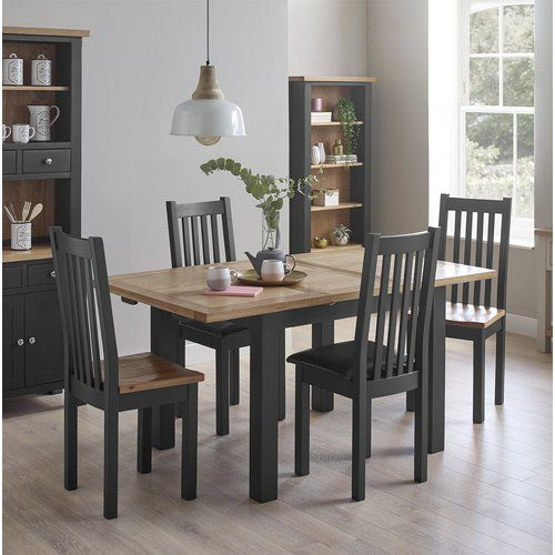 August Grove Rafeala Dining Set With 4 Chairs Solid Wood Dining