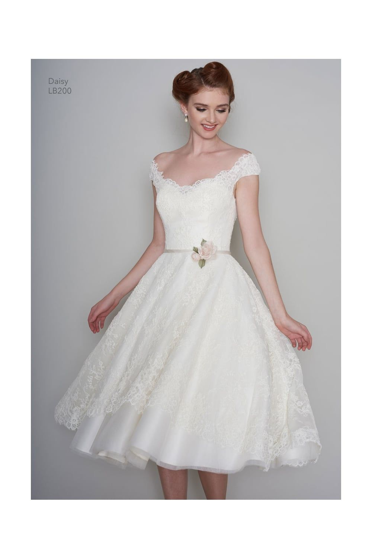 DAISY-RAE Tea Length 1950s Vintage Style Short Wedding Dress In Lace ...